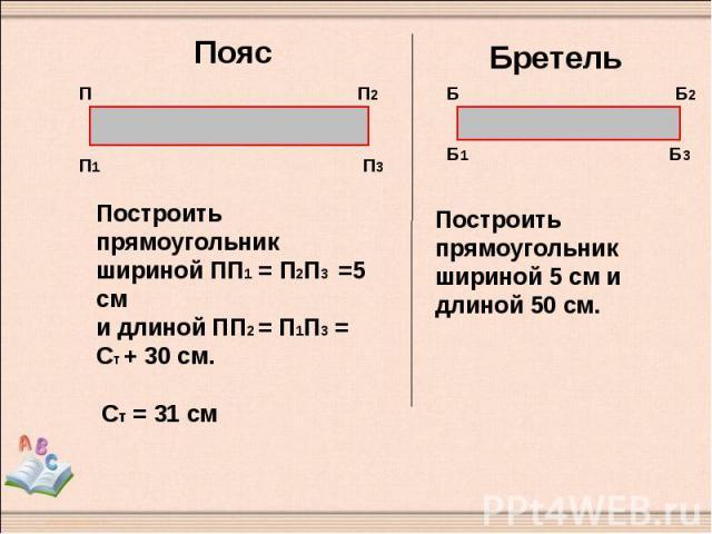 Пояс Построить прямоугольник шириной ПП1 = П2П3 =5 см и длиной ПП2 = П1П3 = Ст + 30 см. Бретель Построить прямоугольник шириной 5 см и длиной 50 см.