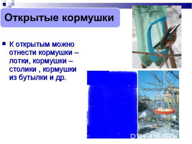 Открытые кормушки К открытым можно отнести кормушки – лотки, кормушки – столики , кормушки из бутылки и др.