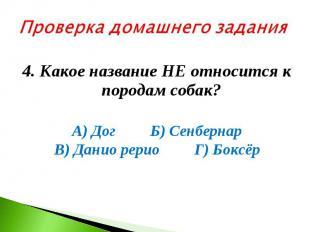 Проверка домашнего задания 4. Какое название НЕ относится к породам собак? А) До