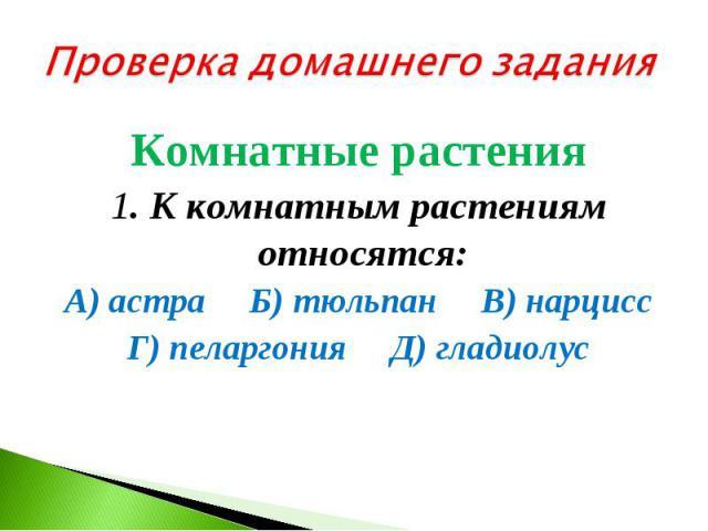 Проверка домашнего заданияКомнатные растения 1. К комнатным растениям относятся: А) астра Б) тюльпан В) нарцисс Г) пеларгония Д) гладиолус