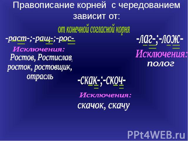 Правописание корней с чередованием зависит от:от конечной согласной корня Ростов, Ростислав, росток, ростовщик, отрасль -лаг-;-лож- Исключения: -скак-;-скоч- скачок, скачу