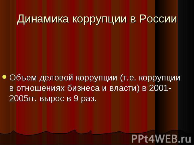 Динамика коррупции в РоссииОбъем деловой коррупции (т.е. коррупции в отношениях бизнеса и власти) в 2001-2005гг. вырос в 9 раз.