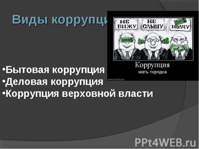 Виды коррупции:Бытовая коррупция Деловая коррупция Коррупция верховной власти