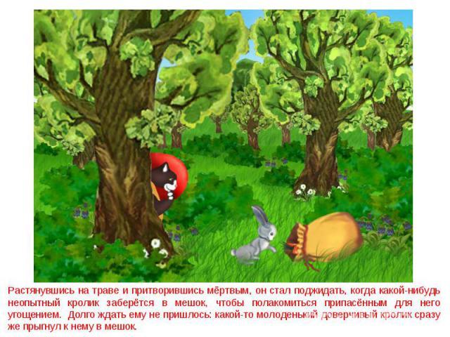 Растянувшись на траве и притворившись мёртвым, он стал поджидать, когда какой-нибудь неопытный кролик заберётся в мешок, чтобы полакомиться припасённым для него угощением. Долго ждать ему не пришлось: какой-то молоденький доверчивый кролик сразу же …