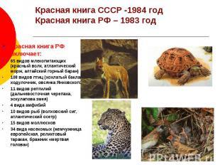 Красная книга СССР -1984 год Красная книга РФ – 1983 год Красная книга РФ включа
