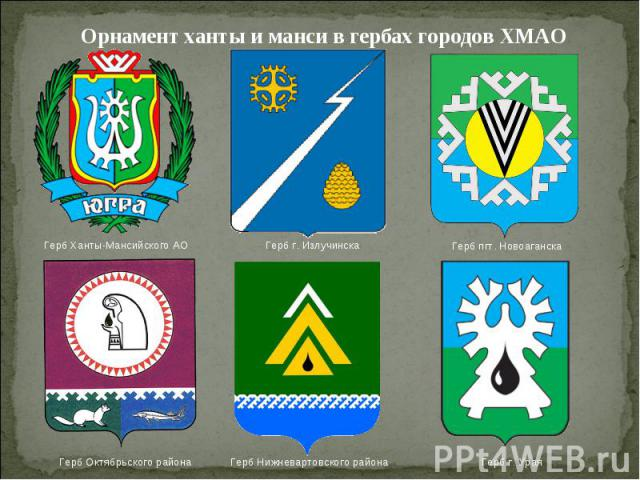 Орнамент ханты и манси в гербах городов ХМАО
