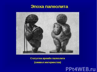 Эпоха палеолита Статуэтка времён палеолита (символ материнства)