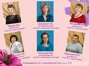 Чванова В.Д., воспитатель стаж 24 г., I кв. категория Дмитриева Г.Н., инструктор