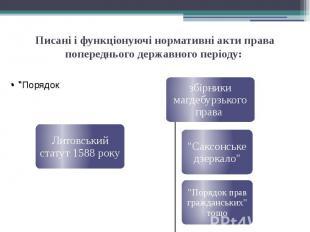 Писані і функціонуючі нормативні акти права попереднього державного періоду: