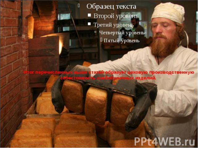 Итог перечисленных выше статей образует цеховую производственную себестоимость хлебобулочных изделий.