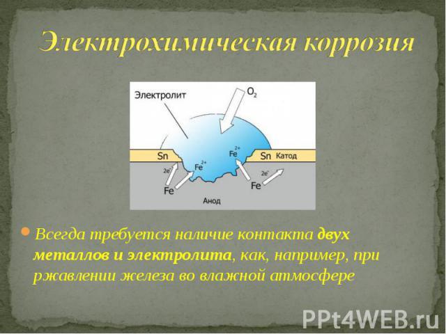 Электрохимическая коррозия Всегда требуется наличие контакта двух металлов и электролита, как, например, при ржавлении железа во влажной атмосфере