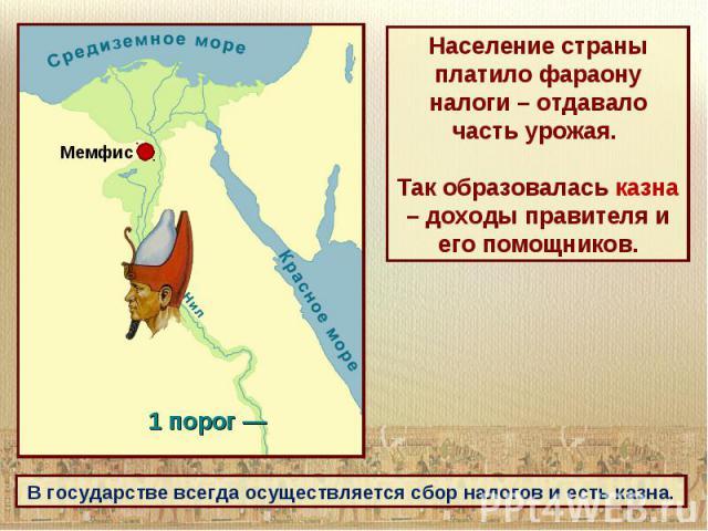 Население страны платило фараону налоги – отдавало часть урожая. Так образовалась казна – доходы правителя и его помощников.