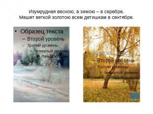 Изумрудная весною, а зимою – в серебре, Машет веткой золотою всем детишкам в сен