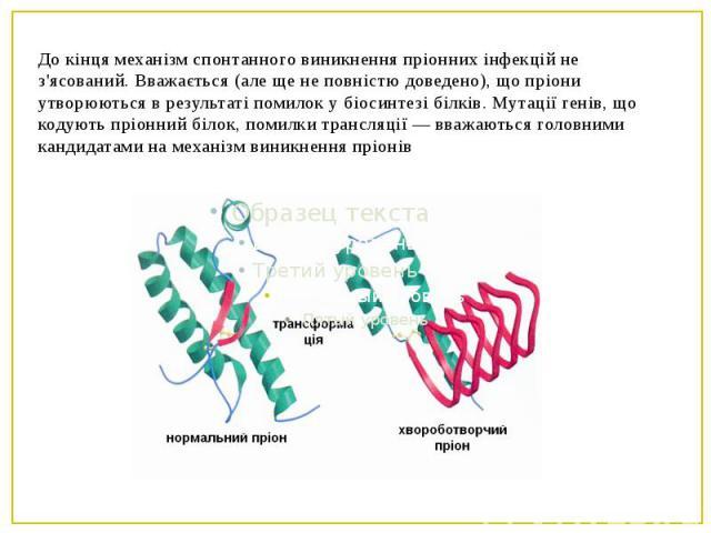 До кінця механізм спонтанного виникнення пріонних інфекцій не з'ясований. Вважається (але ще не повністю доведено), що пріони утворюються в результаті помилок у біосинтезі білків. Мутації генів, що кодують пріонний білок, помилки трансляції — вважаю…