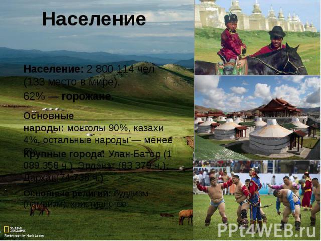 Население Население:2800114 чел (133 место в мире).62% —горожане.Основные народы:монголы90%, казахи 4%, остальные народы — менее 6%.Крупные города: Улан-Батор(1 089 358 ч.), Эрдэнэт (83 379 ч.), Дархан(74 738 ч.)Основные религии: буддизм (лам…