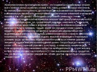 Жизнеобеспечение в космическом полёте - это создание и поддержание в течении все