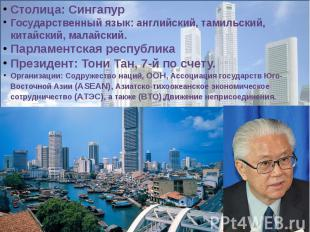 Столица: СингапурГосударственный язык: английский, тамильский, китайский, малайс