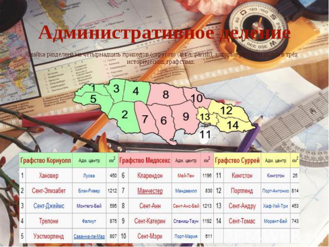 Административное делениеЯмайка разделена на четырнадцать приходов (округов) (англ. parish), которые располагаются в трёх исторических графствах.