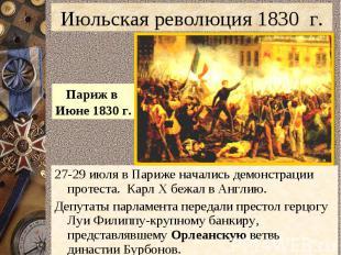 Июльская революция 1830 г.Париж в Июне 1830 г.27-29 июля в Париже начались демон