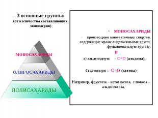 3 основные группы:(от количества составляющих мономеров)МОНОСАХАРИДЫпроизводные