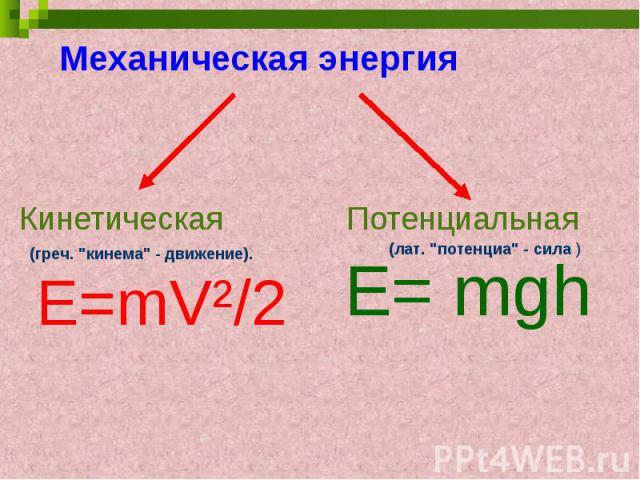 Механическая энергияКинетическая Потенциальная