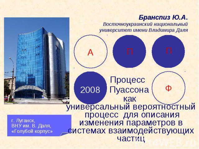 г. Луганск, ВНУ им. В. Даля, «Голубой корпус» А П П Ф 2008 Процесс Пуассона как универсальный вероятностный процесс для описания изменения параметров в системах взаимодействующих частиц Бранспиз Ю.А. Восточноукраинский национальный университет имени…