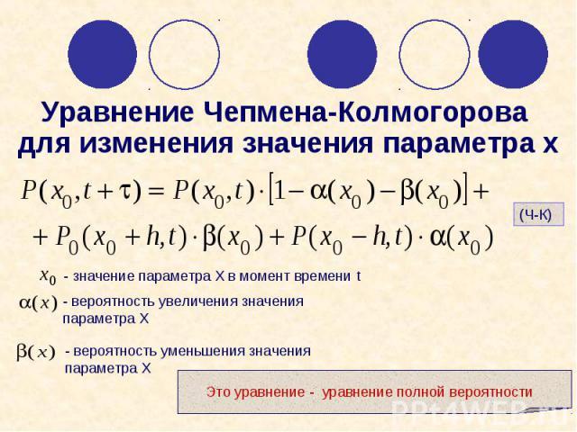 Уравнение Чепмена-Колмогорова для изменения значения параметра х Это уравнение - уравнение полной вероятности - вероятность увеличения значения параметра Х - вероятность уменьшения значения параметра Х - значение параметра X в момент времени t (Ч-К)