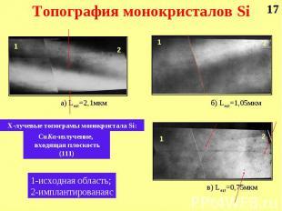 а) Lext=2,1мкм б) Lext=1,05мкм в) Lext=0,75мкм Х-лучевые топограмы монокристала