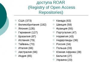 Реестр репозиториев открытого доступа ROAR (Registry of Open Access Repositories