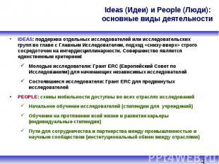 Ideas (Идеи) и People (Люди): основные виды деятельности IDEAS: поддержка отдель