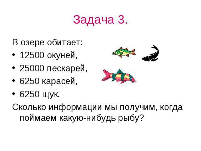 Задача 3.В озере обитает:12500 окуней,25000 пескарей,6250 карасей,6250 щук.Сколько информации мы получим, когда поймаем какую-нибудь рыбу?