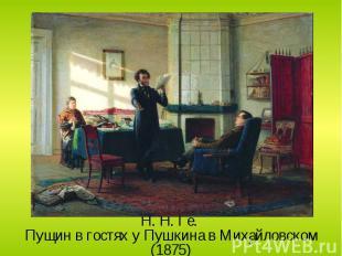 Н. Н. Ге. Пущин в гостях у Пушкина в Михайловском (1875)