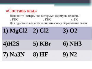 «Составь код»Выпишите номера, под которыми формулы веществ:с КПС с КНС с ИСДля о
