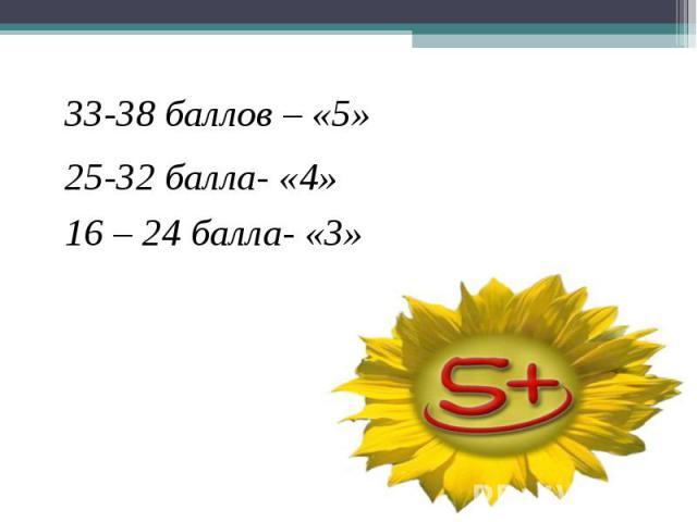 33-38 баллов – «5»25-32 балла- «4»16 – 24 балла- «3»