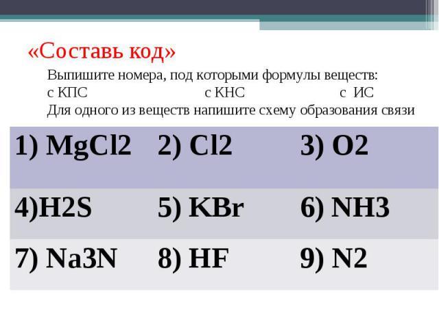«Составь код»Выпишите номера, под которыми формулы веществ:с КПС с КНС с ИСДля одного из веществ напишите схему образования связи