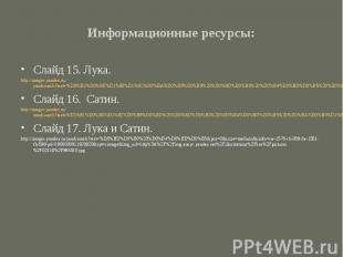 Информационные ресурсы:Слайд 15. Лука.http://images.yandex.ru/yandsearch?text=%D