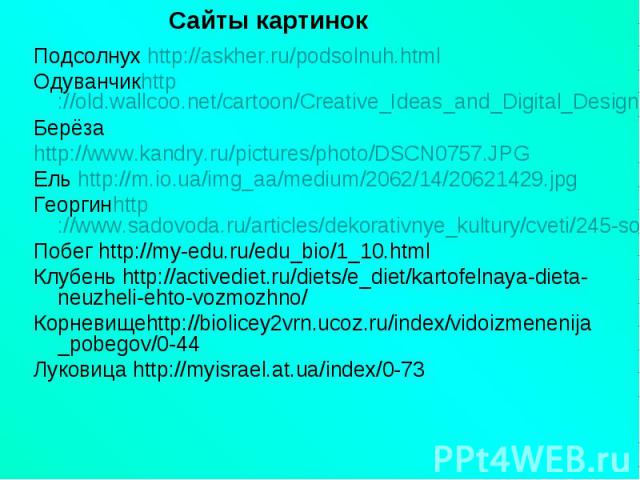 Подсолнух http://askher.ru/podsolnuh.htmlПодсолнух http://askher.ru/podsolnuh.htmlОдуванчикhttp://old.wallcoo.net/cartoon/Creative_Ideas_and_Digital_Design_1920x1200/html/wallpaper3.htmlБерёзаhttp://www.kandry.ru/pictures/photo/DSCN0757.JPGЕль http:…