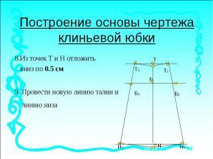 Построение основы чертежа клиньевой юбки8.Из точек Т и Н отложить вниз по 0.5 см