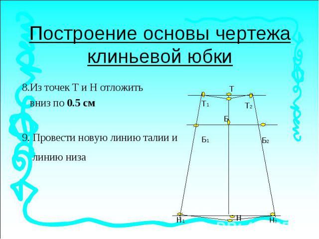 Построение основы чертежа клиньевой юбки8.Из точек Т и Н отложить вниз по 0.5 см 9. Провести новую линию талии и линию низа