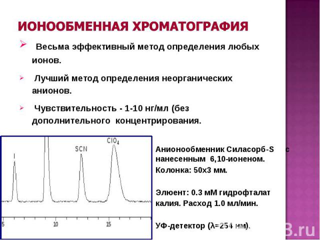 Весьма эффективный метод определения любых ионов. Лучший метод определения неорганических анионов. Чувствительность - 1-10 нг/мл (без дополнительного концентрирования. Анионообменник Силасорб-S с нанесенным 6,10-ионеном. Колонка: 50x3 мм. Элюент: 0.…