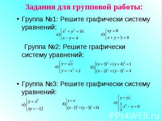 Задания для групповой работы: Группа №1: Решите графически систему уравнений: Группа №2: Решите графически систему уравнений: Группа №3: Решите графически систему уравнений: Дополнительно: №525