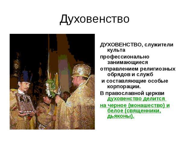 Духовенство ДУХОВЕНСТВО, служители культа профессионально занимающиеся отправлением религиозных обрядов и служб и составляющие особые корпорации. В православной церкви духовенство делится на черное (монашество) и белое (священники, дьяконы).