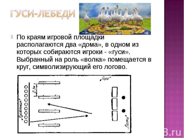 По краям игровой площадки располагаются два «дома», в одном из которых собираются игроки - «гуси». Выбранный на роль «волка» помещается в круг, символизирующий его логово.