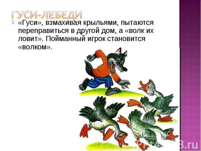 «Гуси», взмахивая крыльями, пытаются переправиться в другой дом, а «волк их ловит». Пойманный игрок становится «волком».