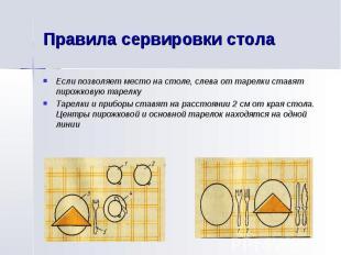 Правила сервировки столаЕсли позволяет место на столе, слева от тарелки ставят п