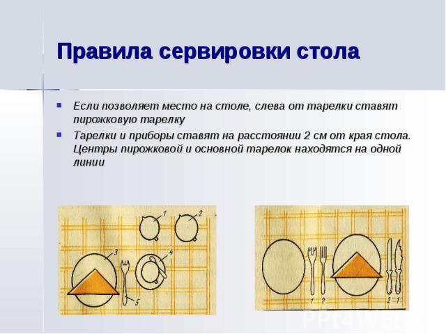Правила сервировки столаЕсли позволяет место на столе, слева от тарелки ставят пирожковую тарелкуТарелки и приборы ставят на расстоянии 2 см от края стола. Центры пирожковой и основной тарелок находятся на одной линии