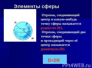 R O Отрезок, соединяющий центр и какую-нибудь точку сферы называется радиусом (R