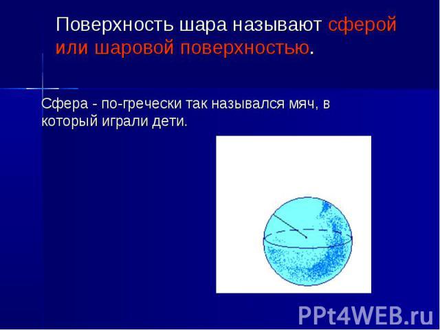 Сфера - по-гречески так назывался мяч, в который играли дети. Поверхность шара называют сферой или шаровой поверхностью.