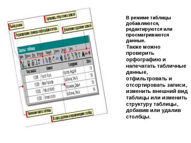 В режиме таблицы добавляются, редактируются или просматриваются данные. Также можно проверить орфографию и напечатать табличные данные, отфильтровать и отсортировать записи, изменить внешний вид таблицы или изменить структуру таблицы, добавив или уд…
