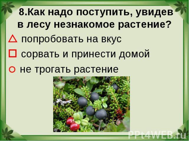8.Как надо поступить, увидев в лесу незнакомое растение? попробовать на вкус сорвать и принести домой не трогать растение